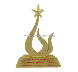 custom zinc alloy plated gold acrylic trophy