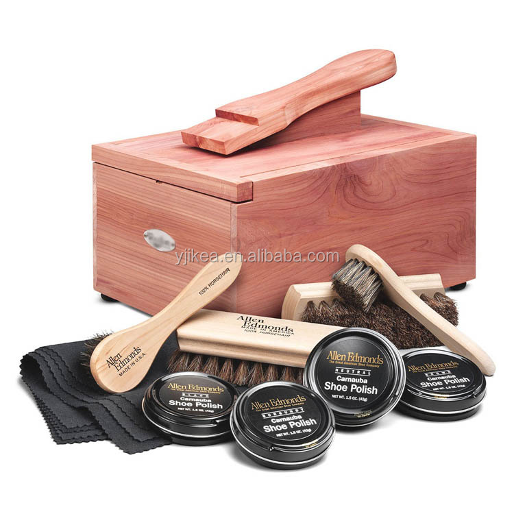 Wholesale Luxury Shoe Shine Kit High-grade Shoe Polish Box Wooden Shoe Care Box
