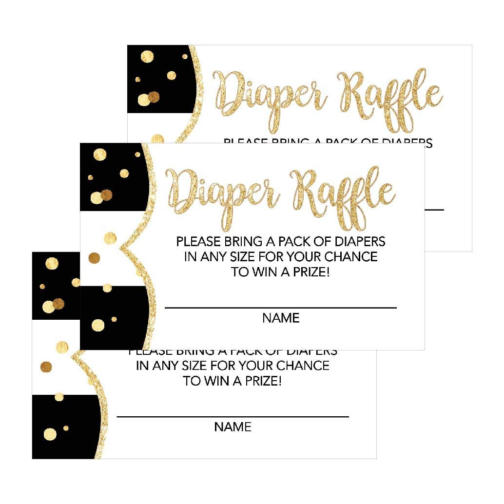 1159a8c08 Get Quotations · 25 Black Diaper Raffle Ticket Lottery Insert Cards For Girl  or Boy Baby Shower Invitations,