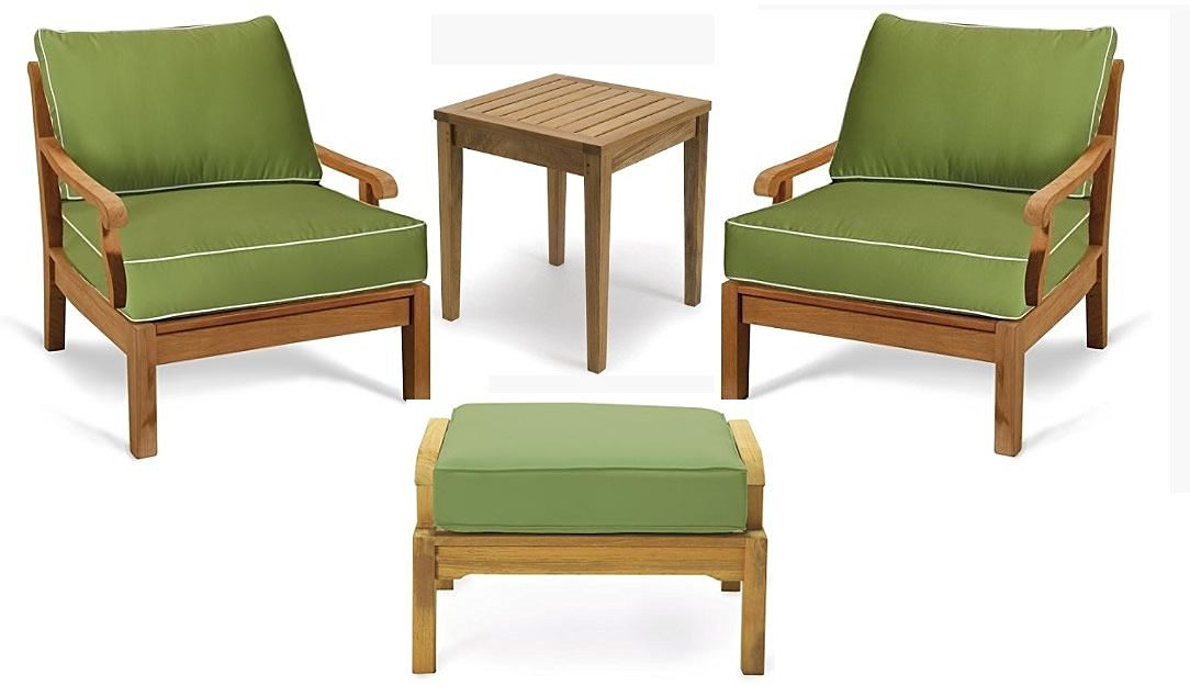 New Luxurious 4 Piece Teak Sofa Chair Set -2 Lounge Chairs, 1 Ottoman and 1 Side Table -Furniture only --Sack Collection #WFSSSK3