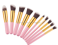 New top quality hot sale professional pink cosmetic foundation brushes 10 pcs mini makeup brush kit