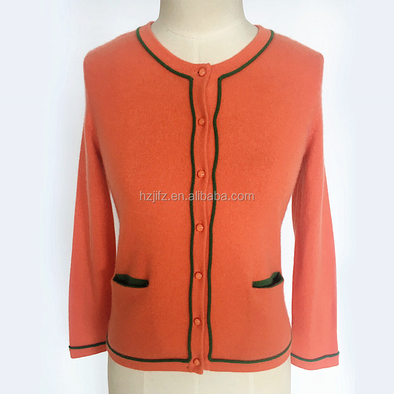 Ladies cashmere with pocket botton down cardigan sweater