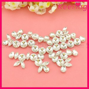Wholesale shining round glass crystal clothing rhinestone embellishment WRE-218