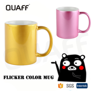 QUAFF flash Ceramic ring Color Gold custom cup sublimation for mug