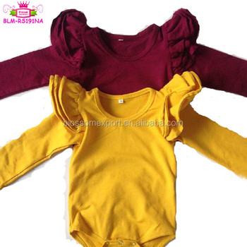 d2301f3ba3d Brand clothes playsuit one piece custom baby unisex cotton long sleeve  flutter romper onesie