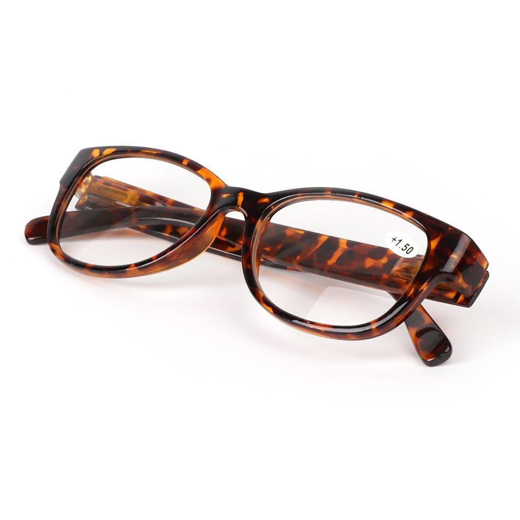 Yeahii Unisex Spring Hinge Square Reading Glasses Presbyopic Eyeglasses +1.0 -4.0 (+1.00, Leopard)