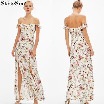 0ef99ab7eb Ladies Off Shoulder Summer Split Side Sexy Beach Floral Maxi Dress ...
