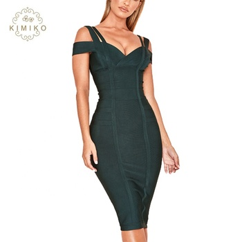 Evergreen Off Shoulder Bandage Party Dresses Women