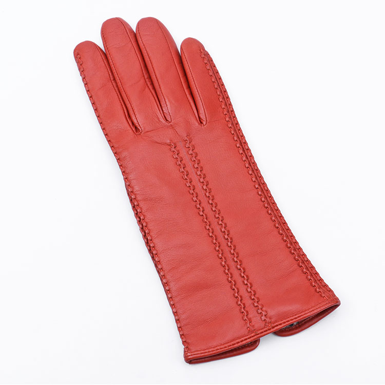Fashionable women's thin leather gloves with decoration lines