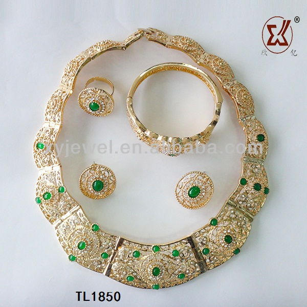 Wholesale 18 Carat Gold Dubai Jewelry Sets With Crystal Luxury Gold