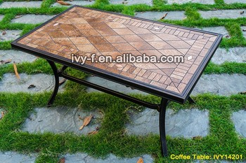 Outdoor Furniture Cast Aluminum Frame Garden Coffee Table Ceramic Tile  Tabletop Rectangular Table Assembly Tea Table