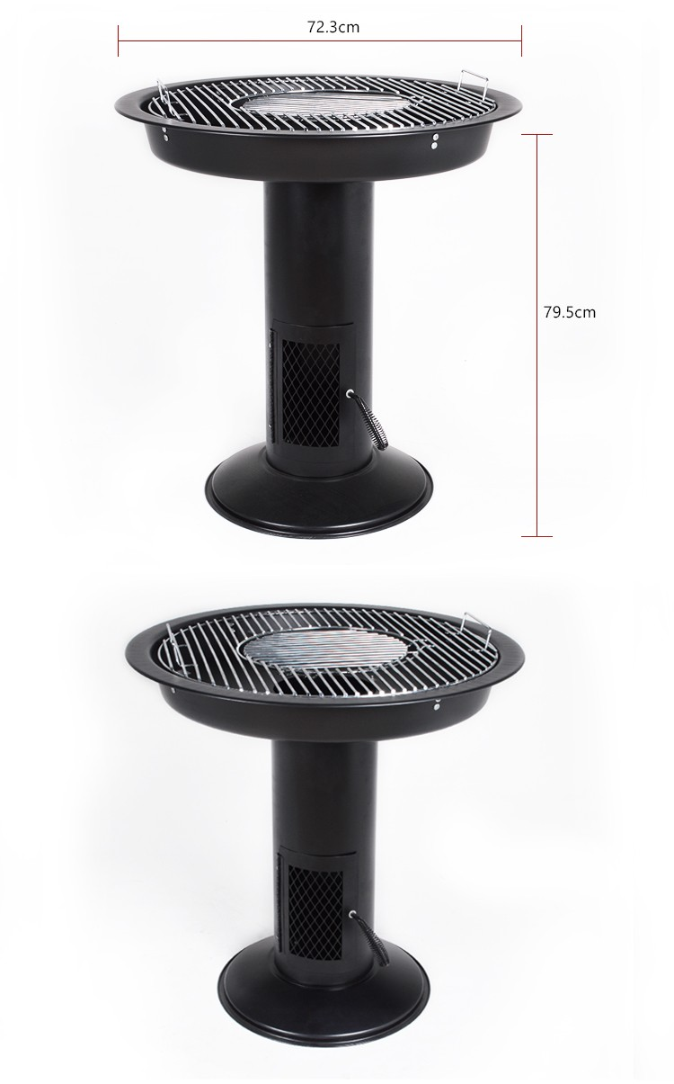 Hotlink En standard height adjustable pedestal charcoal barbecue bbq grill for outdoor use