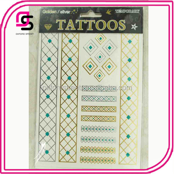 3 Color Custom Water Transfer Golded Body Temporary Tattoo Sticker