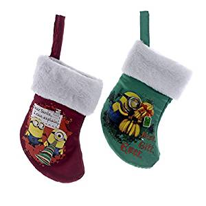get quotations kurt adler 1 set 2 assorted despicable me minion red and green christmas stockings - Minion Christmas Stocking