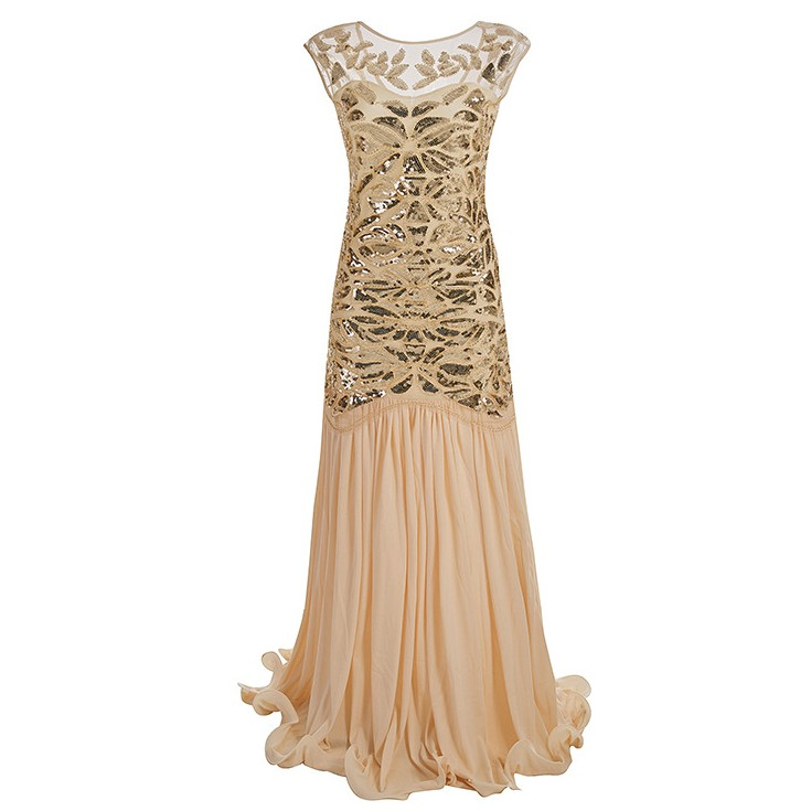 Frauen 1920 s Great Gatsby Lange Flapper Kleider Vintage V Neck Sleeveless Maxi Party Kleid Abend Prom Cocktail Y11276