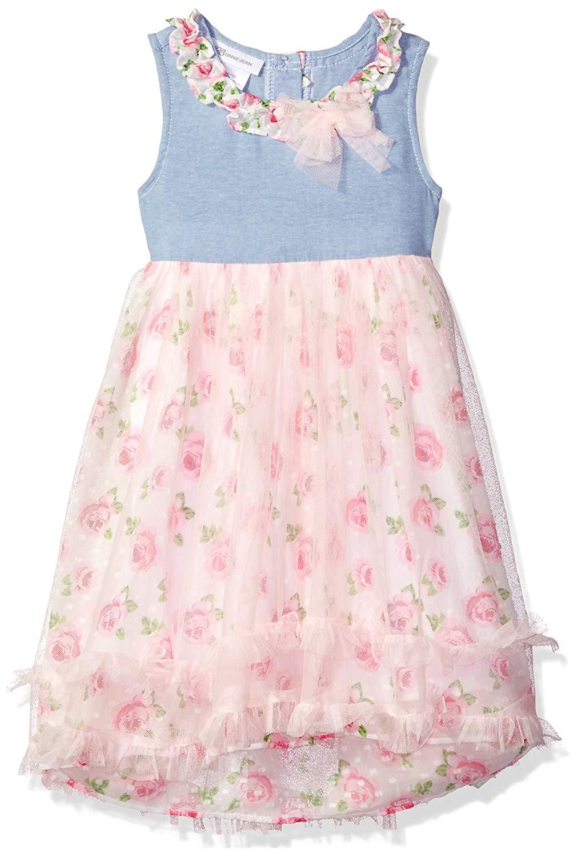 7a5c06e49ec Get Quotations · Bonnie Jean Girls' Sleeveless Printed Chiffon Hi Low Dress