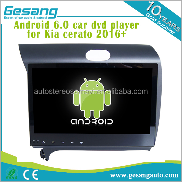 HD Touch screen car audio Android 6.0 car dvd player Kia cerato 2016+ with gps ipod, usb, dvd, camera, dvb-t BT DVR