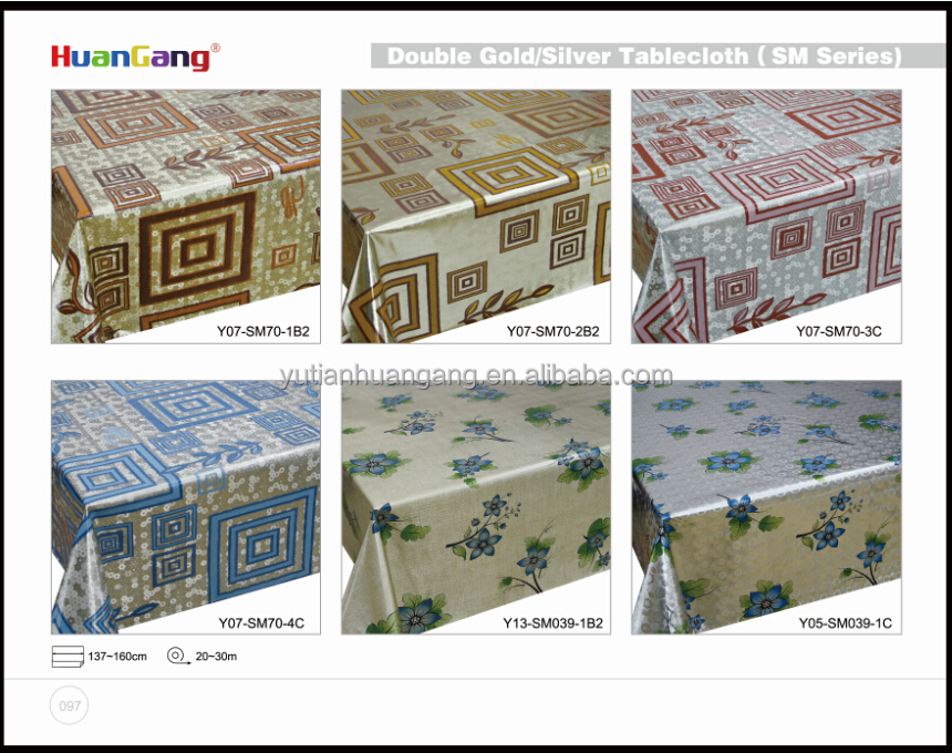 Printed PVC Table Cloth with Non-woven Backing for Home