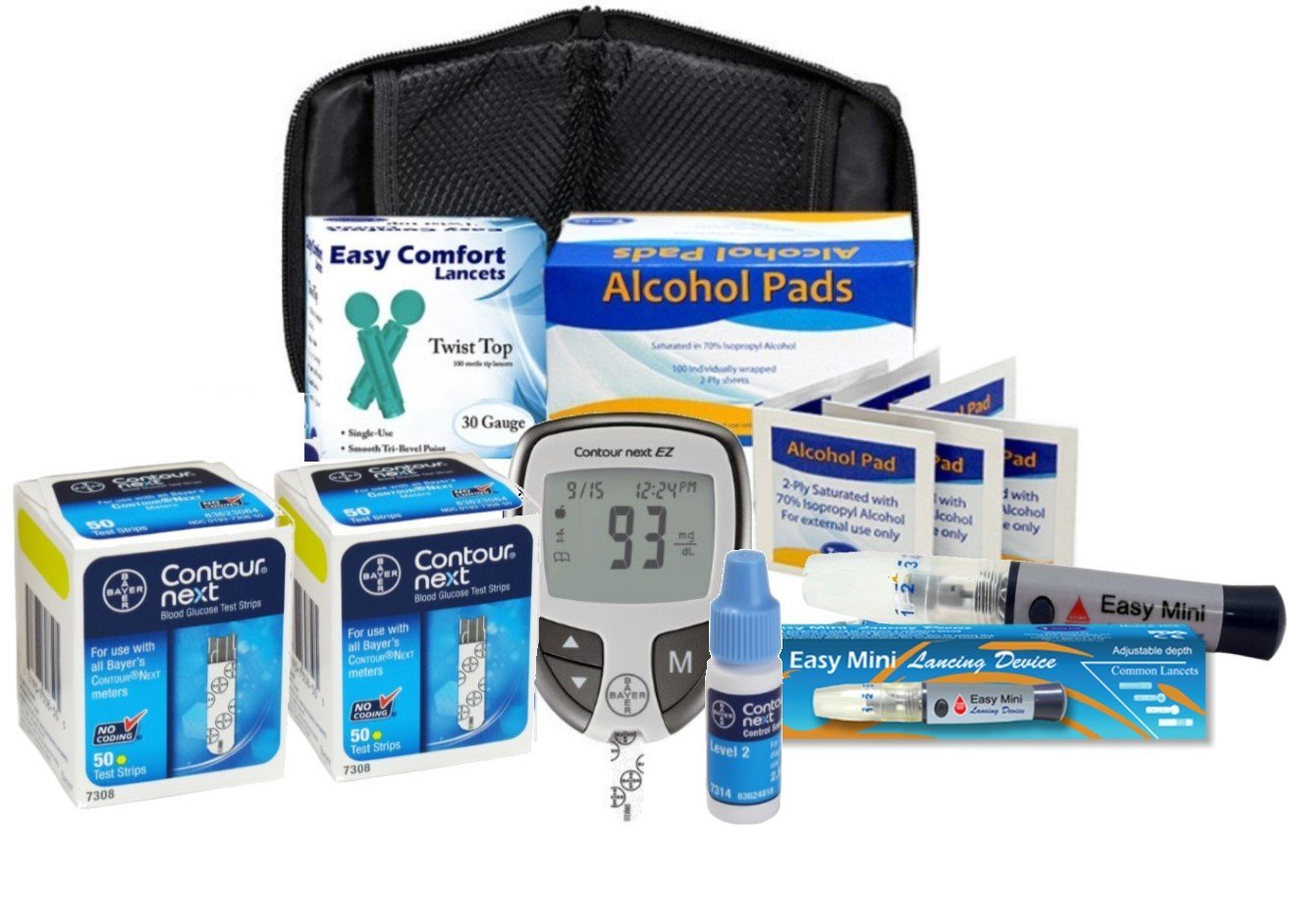 Slight Touch Contour Next Diabetes Testing Kit - Ez Meter, 100 Bayer Contour Next Test Strips, 100 30g Lancets, 1 Lancing Device, 100 Alcohol Prep Pads (Blue)