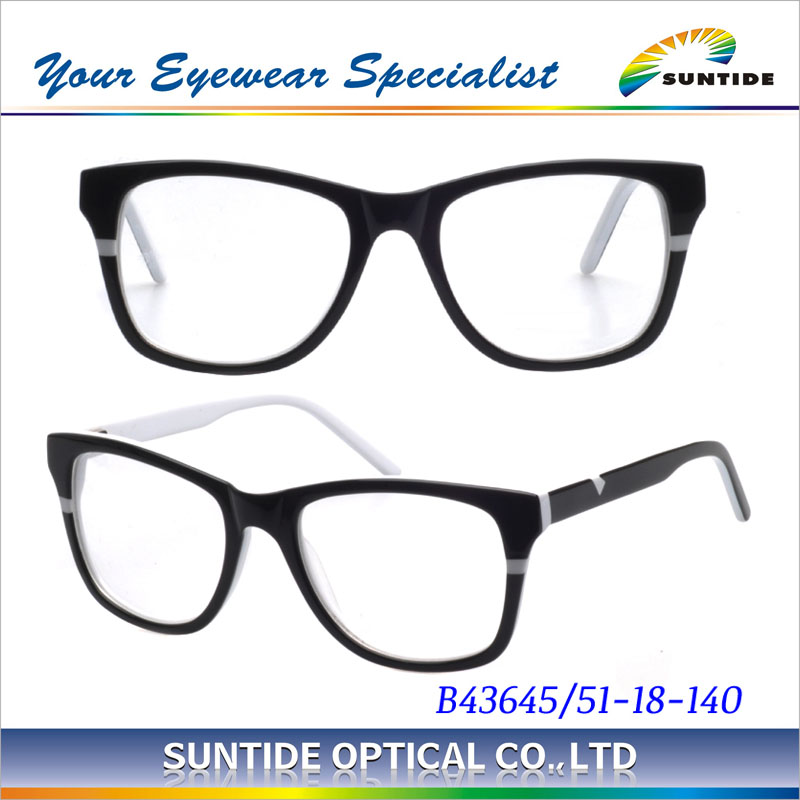 Fashion black frant and white inside Acetate glasses china Wholesale Acetate Eyewear (B43645)