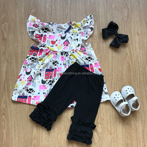 wholesale girls barnyard ruffle capris set 2018 girls summer boutique clothing ruffle summer outfit