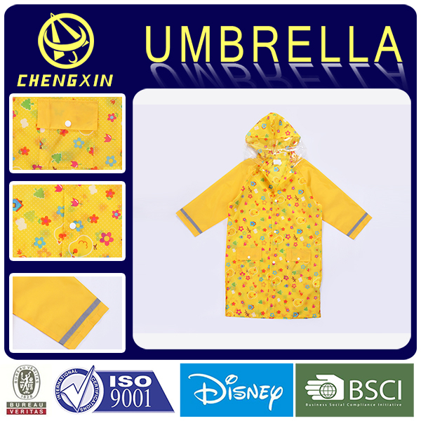 Clear Children Simple Full Length Polyester Raincoats