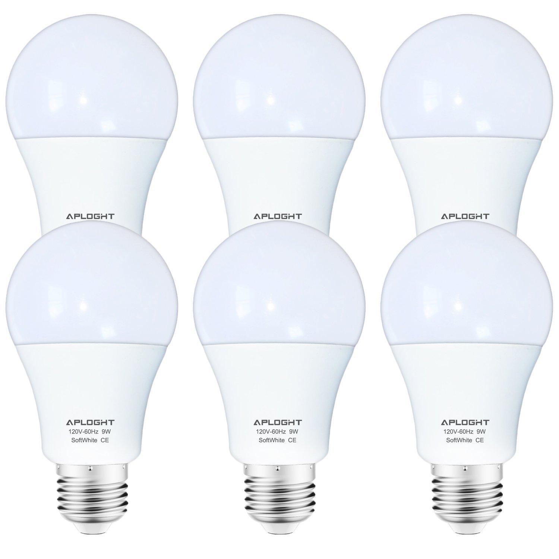 APLOGHT 60 Watt Equivalent ( 9W ), Soft White ( 3000K ), Non-Dimmable, E26 Base, A19 LED Light Bulbs, 6-Pack, SA60E26W9-6