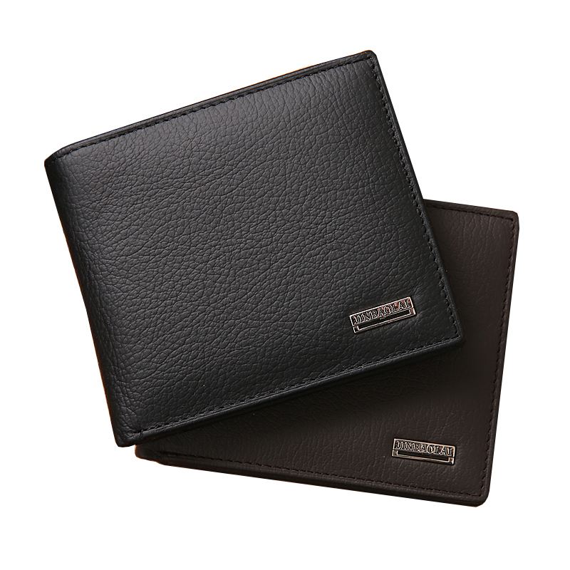Get Quotations · Genuine Leather Men Wallets Short Casual Male Card Holder Carteras  Bi-Fold Famous Wallet With 6c989a2453a