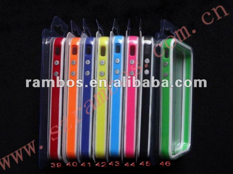 Soft TPU Bumper Frame Case for Apple/for iPhone 4 4S with two metal buttons