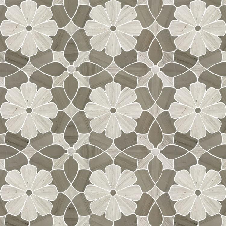 Flower Design White Oak Wooden Gray Marble Waterjet Mosaic