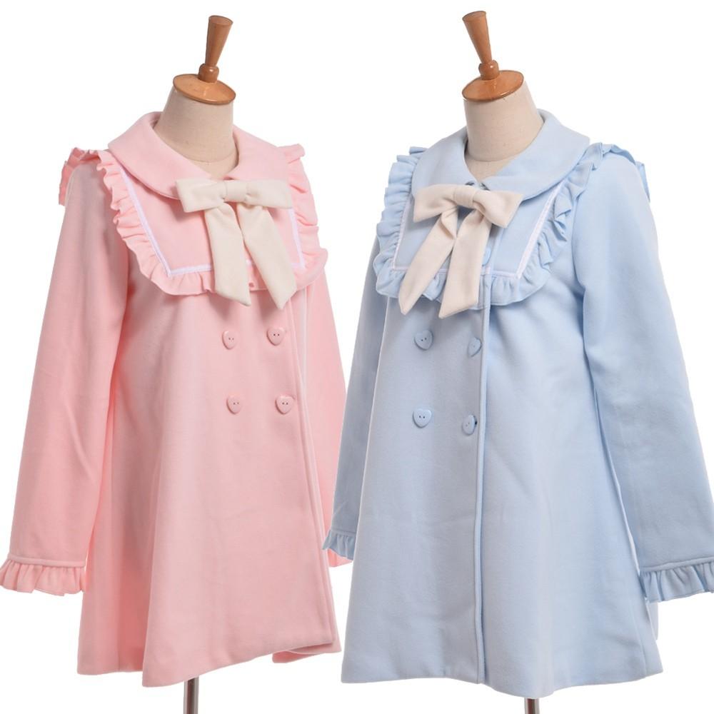 1pc Mori Girls Cute Ruffles Peter Pan Collar Heart Buttons Bow Overcoat  Winter Coat Outwear e2c5d5befd81
