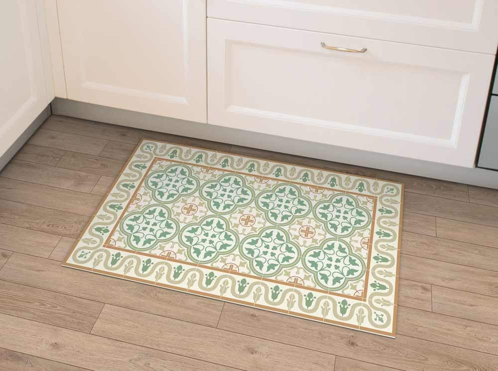 Green Vinyl Mat Vintage Tiles With Decorative Frame Linoleum Area Rug Pvc Floor