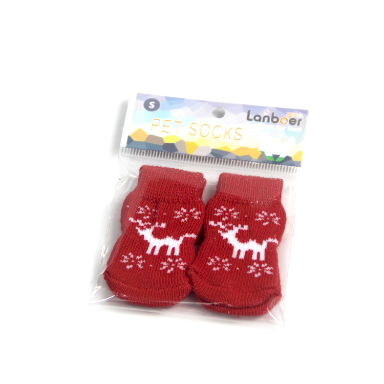 Cute Puppy Dog Shoes Anti-Slip Knit Socks Chihuahua Boots For Small Dogs Cat