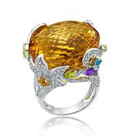 18K High End Fine Jewelry with Citrine, Amethyst, Blue Topaz, Peridot & Diamond Latest Gold Ring Designs
