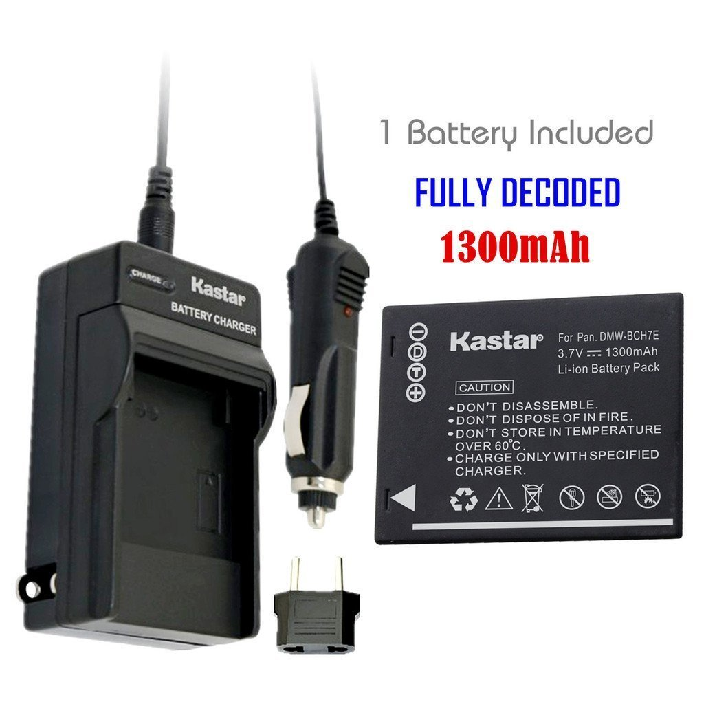 Kastar Battery (1-Pack) and Charger Kit for Panasonic DMW-BCH7, DMW-BCH7PP, DMW-BCH7E, DE-A76 work with Panasonic Lumix DMC-FP1, DMC-FP2, DMC-FP3, DMC-FT10, DMC-TS10 Cameras