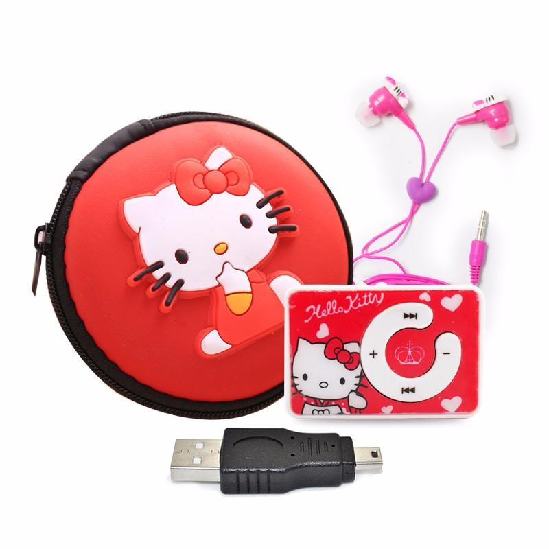 Mini Usb SchöN Mini Cartoon Hallo Kitty Mp3 Musik-player Unterstützung Tf Karte Motion Mini Clip Mp3 Hallo Kitty Kopfhörer Hallo Kitty Tasche