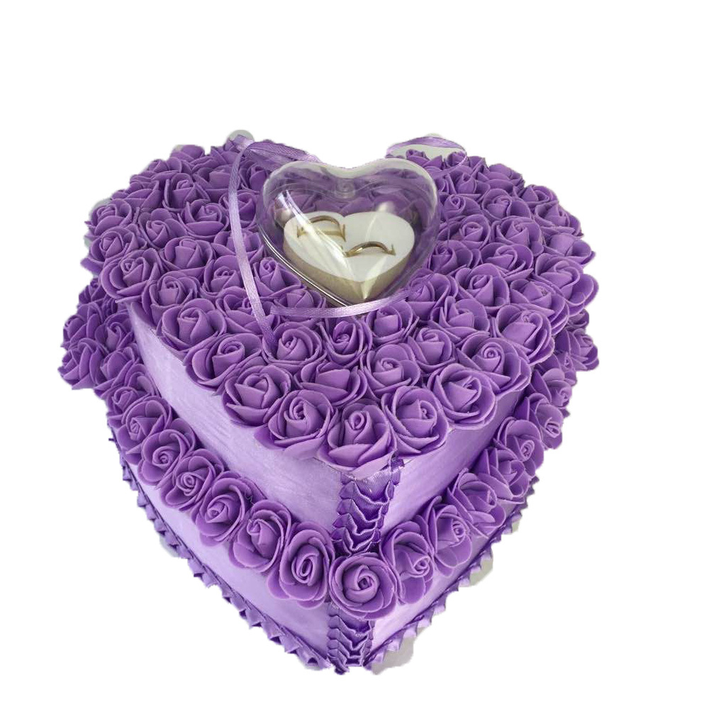 Hot Sale Double Purple Ring Pillow Wedding Favors Ring Box