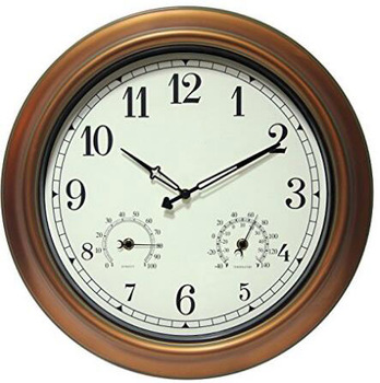 18 inches large metal outdoor wall clock with thermometer and hygrometer