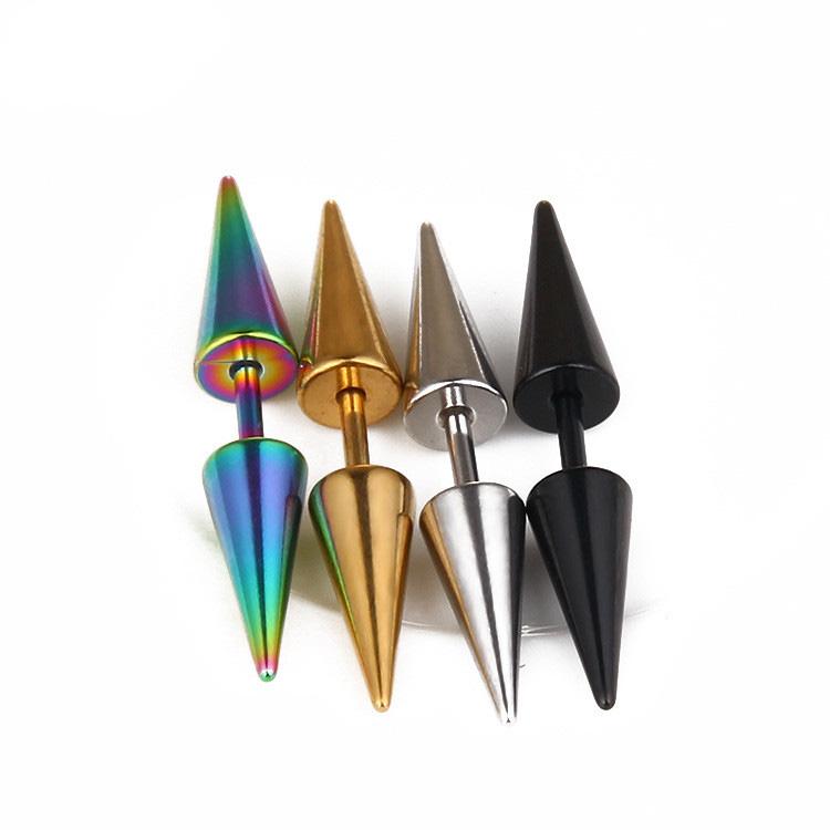 Punk paslanmaz çelik takı lazer colorde keskin saplama küpe