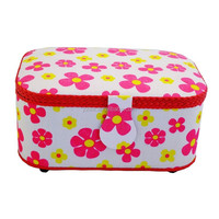 NEW Classic Fabric Floral Design Sewing Basket with Sewing Kit Accessories