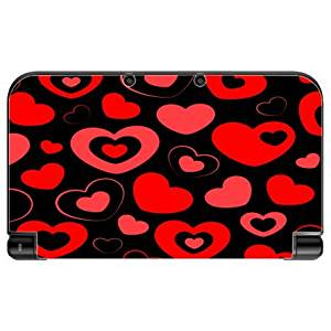 Heart and Hearts Love Pattern Black Background New 3DS XL 2015 Vinyl Decal Sticker Skin by Moonlight Printing