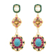 ladies Artificial designs pictures mix colors rhinestone crystal diamond gold earring