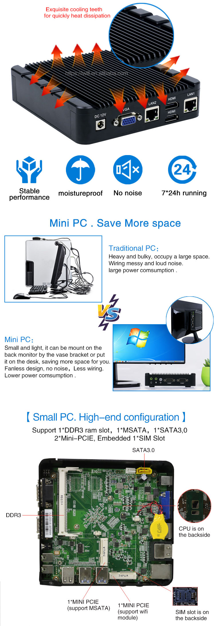 Iwill Free shipping Fanless Mini PC Intel Apollo Lake J3455 dual lan Onboard 32G EMMC computer with 12V Power NO ram NO WiFi