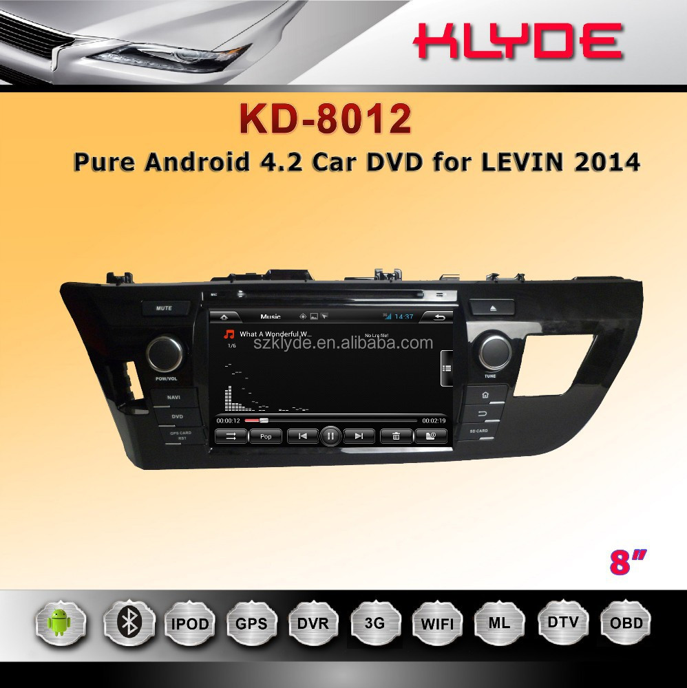 Android 4.2 800x480 IPS display, capacitive touchscreen, car dvd with GPS,BT,WIFI,3G for levin 2014