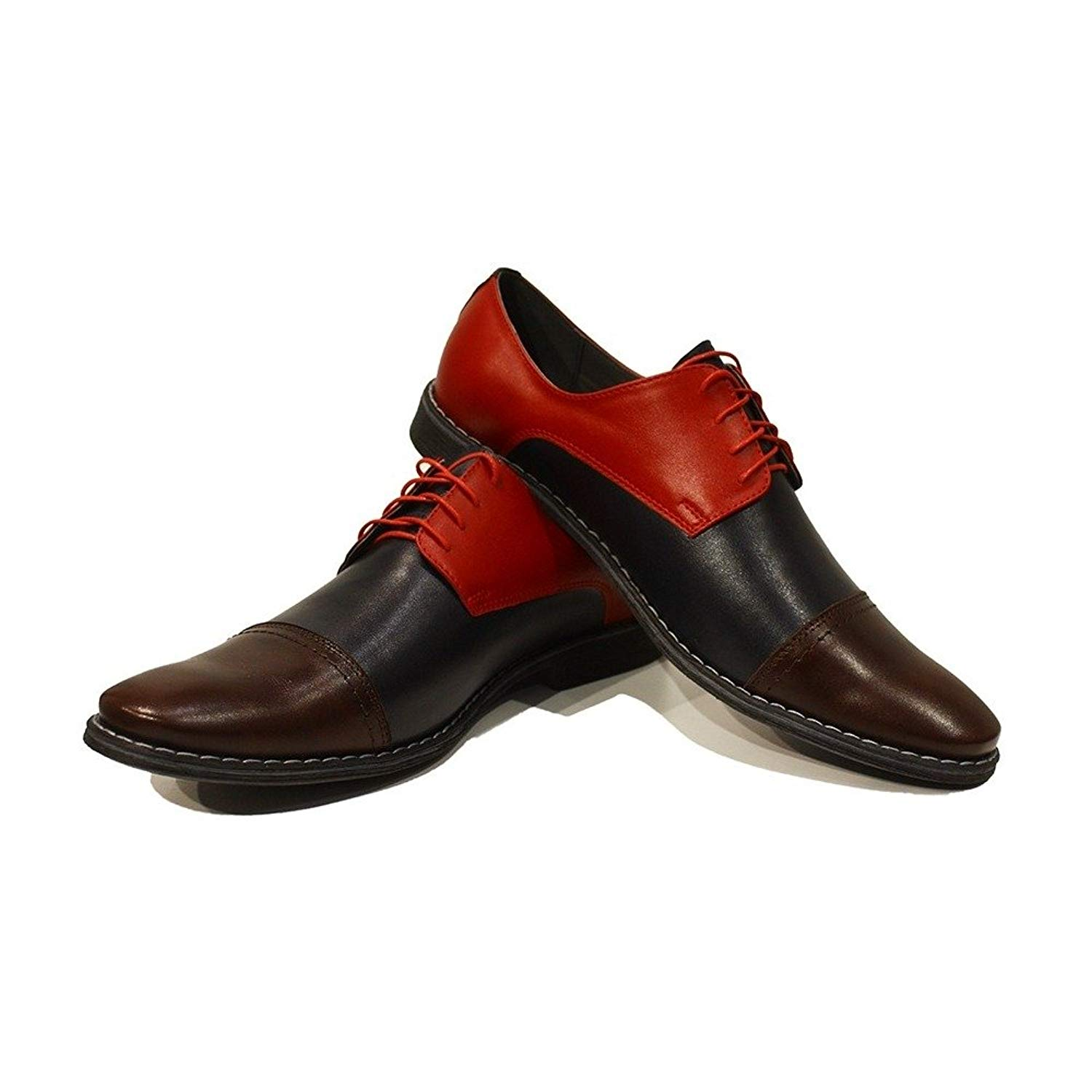 Modello Celestino - Handmade Italian Mens Colorful Oxfords Dress Shoes - Cowhide Smooth Leather - Lace-up