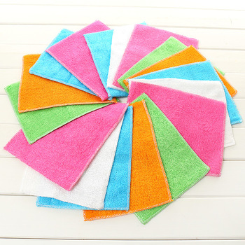 New double-layer thickened dish towel bamboo fiber dishcloth does not touch the oil dishcloth kitchen clean cloth