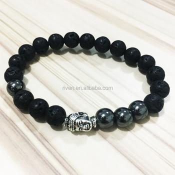 Sn0562 Mens Buddha Bracelet Lava Stone Hemae With