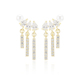 Fashion Tiny Models Gold Silver Tassels Pearl Drop Earrings