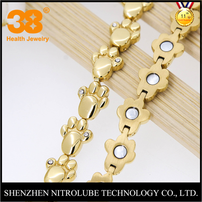 Cubic zirconia dog's paw 316L stainless steel 3000 gauss magnetic germanium bracelet jewelry