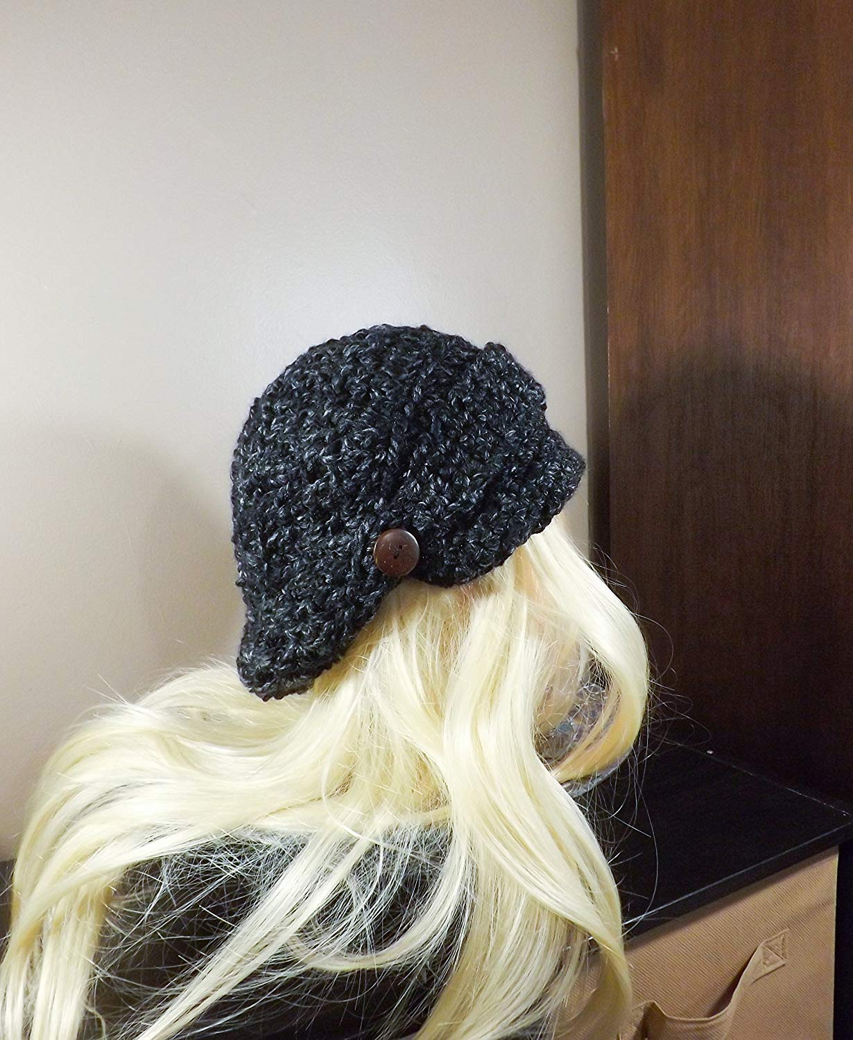 67a9ab5d71acab Get Quotations · Newsboy Hat, Crochet Slouchy Hat, Black and Grey News Boy  Hat with Band and